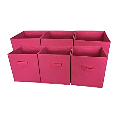 Sodynee® Foldable Cloth Storage Cube Basket Bins Organizer Containers Drawers, 6 Pack, Fuchsia