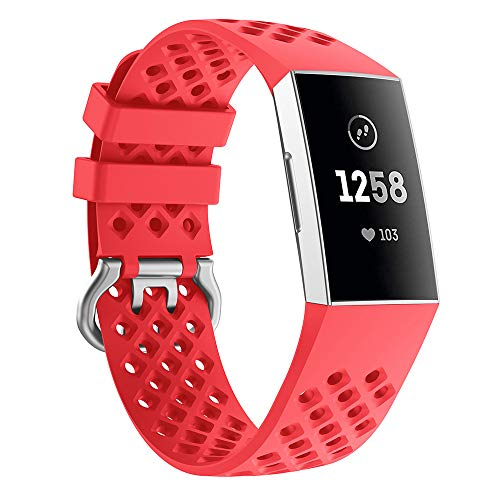 Xiaohua Sport Bands Compatible for Fitbit Charge 3 Bands Women Men, Breathable Holes Silicone Smart Watch Strap Small Large Accessories Wristbands (Small, Red) (Confidence Wristbands)