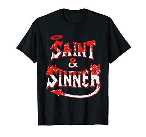 Halloween Couples Costume Shirt Funny Couple Saint & Sinner -