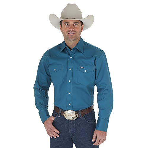 Wrangler Men's Authentic Cowboy Cut Work Western Long-Sleeve Firm Finish Shirt,Dark Teal,Large