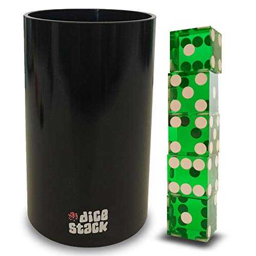 (Dice Stacking Cup - Professional Straight Cups Black w/5 19mm Razor Edges Dice - Accessories - Magic Tricks)