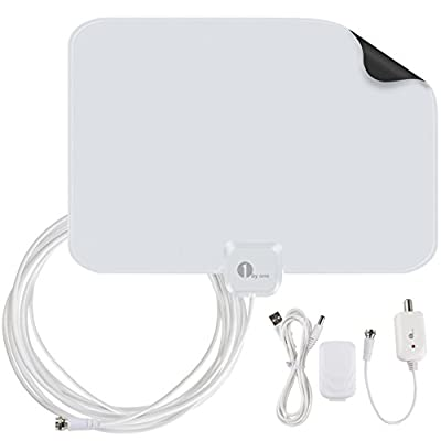 1byone OUS00-0562 Amplified HDTV Antenna 50 Miles Range with USB Power Supply and 20 Feet Coaxial Cable - White/Black from 1BYO0