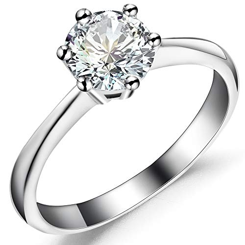iSilver Classical 1ct 925 Sterling Silver Solitaire Ring Engagement Wedding ()