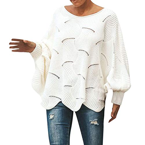 Womens loose Sweater Casual Knitted Loose Long Sleeve Pullover