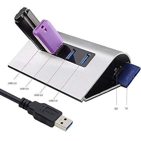 Hub USB 3.0 Con TF/SD Lector de tarjetas con 1m USB 3.0 Cable 4 Puertos Aluminio Conversor USB Hub 3.0 Adaptador para PC Windows ...