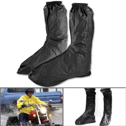 KT-Global Hot Black Waterproof Motor Rain Boots Outdoor Motorcycle Cycling Protective Gear Bike Riding Rain Boot Shoe Cover Anti Slip Anti-skid Footwear (Black1)