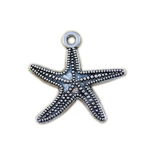 JulieWang 10pcs Antique Silver Mini starfish Pendants Charms Fashion Jewelry Finding 26x26mm (Earrings Mini Starfish)