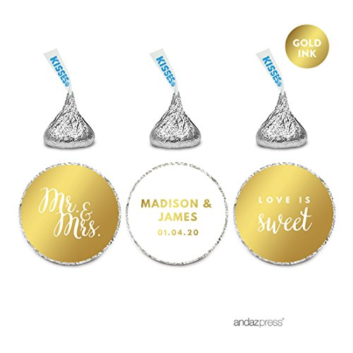 Andaz Press Personalized Chocolate Drop Labels Trio, Metallic Gold Ink, Wedding, 216-Pack, Fits Hershey's Kisses, Custom Made Any Name, Not Gold Foil, Gold Stationery, Invitations, -