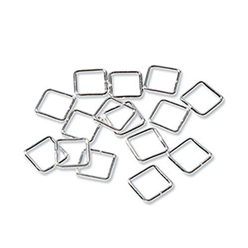 7MM Jump Rings - Square - Sterling Silver Plated (Bright Silver, 50 pieces/bag)