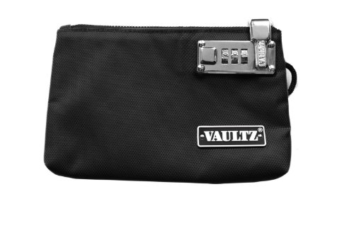 Vaultz Locking Zipper Pouch, 5 x 8 Inches, Black (VZ00472)