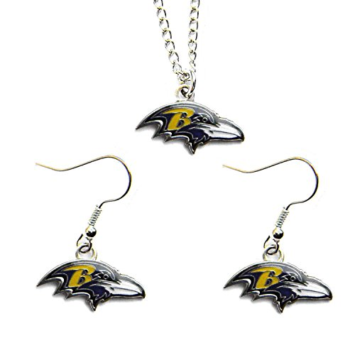 NFL Baltimore Ravens Necklace And Dangle Earring Set