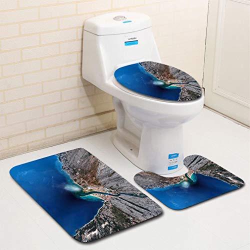 MTSJTliangwan 3-Piece Bathroom Set, Bathroom Rug + Contour pad + lid Toilet seat, Ultra Wide Angle Aerial View of Omis and Cetina River Dalmatian Coast Croatia 1 Comfortable Flannel - Shag Shaw Ultra