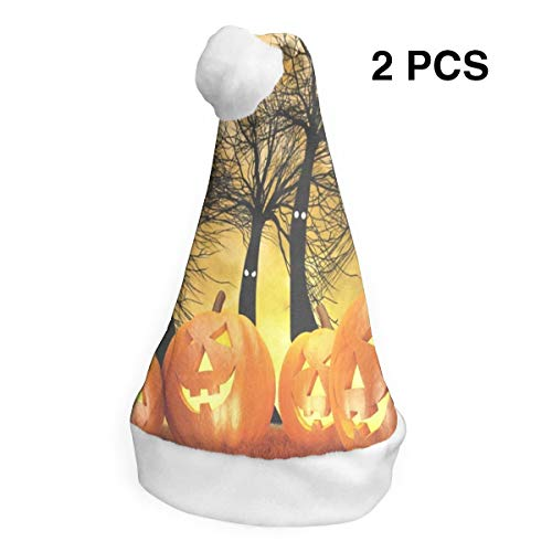 Christmas Hat Halloween Pumpkins and Dark Forest Santa Hats Xmas Cap Holiday Decor 2 Piece]()
