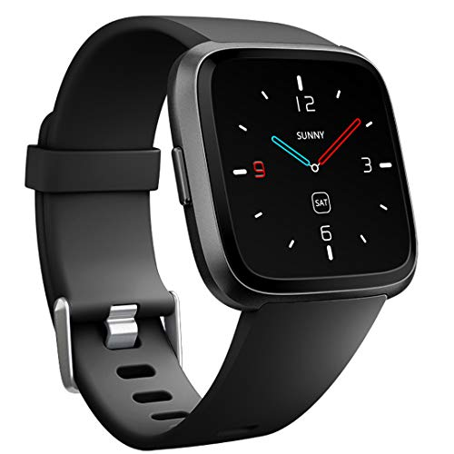 Ouwegaga for Fitbit Versa Bands Sport, for Fitbit Versa Smartwatch Wristbands Fitness Straps for Men Women Large Black