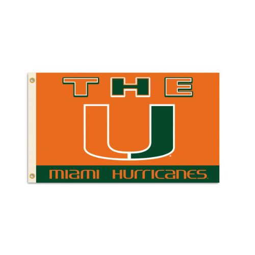 NCAA Miami Hurricanes 3-by-5 Foot Flag With Grommets