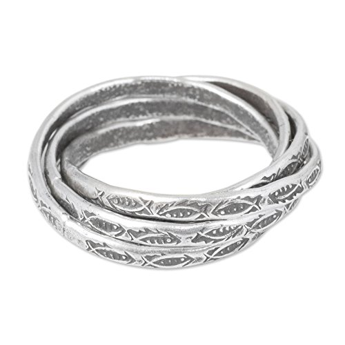 Hill Tribe Rings - NOVICA .950 Sterling Silver Hill Tribe Interlinked Fish Rings, Five Karen Rivers'
