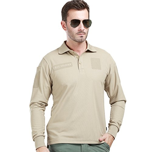 4dc87f78330e FREE SOLDIER Men s Long Sleeve Polo Shirt Breathable Coolmax Tactical Polo  - Buy Online in KSA. Sporting Goods products in Saudi Arabia.