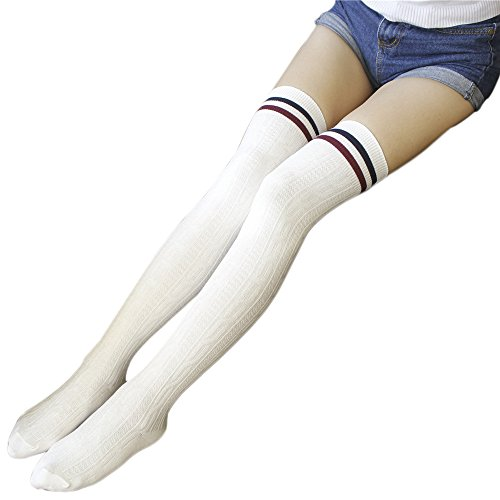 Hosiery Sexy Tights Stripe (ChezAbbey Womens Stripe Over the Knee High Stockings Cosplay Socks Pantyhose, White with Two-Stripe)