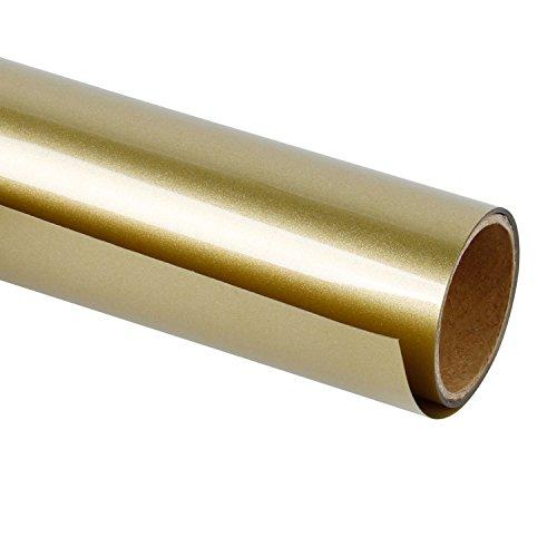 RUSPEPA Heat Transfer Vinyl HTV - Iron On for DIY T-Shirts, Craft Garment Heat Press - 12inch X 3Feet Roll - Gold