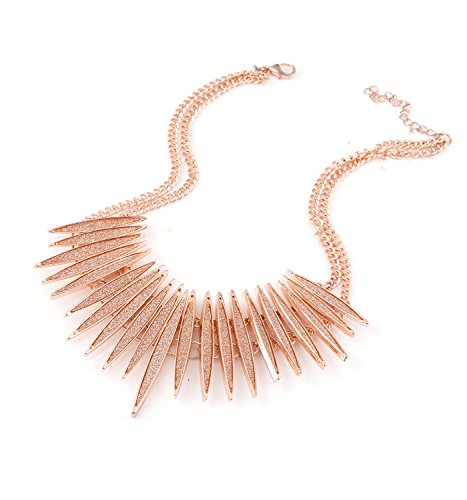 (MOLOCH Sparkling Druzy Leaf Choker Necklace Fashion Rose Gold-Tone Collar Necklace Bib Statement Chunky Tribal Necklace Woman Jewelry (Rose Gold))