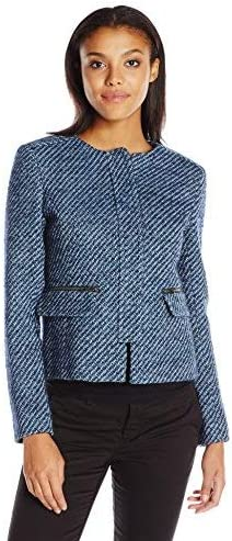 Helene Berman Womens Tweed Concealed Front Jacket