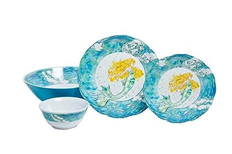 Galleyware Mermaid 19-Piece Melamine Dinnerware Set Service for 6 with Serving Bowl  sc 1 st  Amazon.com & Amazon.com | Galleyware Mermaid 19-Piece Melamine Dinnerware Set ...