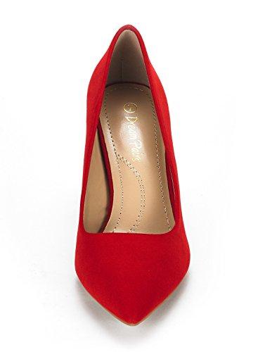 Dream Pairs Donna Kucci Classic Fashion Scarpe A Punta Tacco Alto Pompe Scarpe In Camoscio Rosso