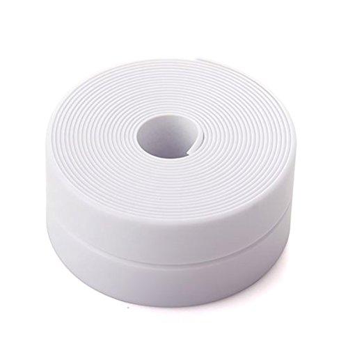 Daycount Counter Caulk Strip Seal for Bath Tub, Kitchen, Shower Toilet Wall Sealant, Kitchen Corner Line Waterproof Tape Table Edge Corner Protector Bumper Strip 126''x1.57'' (White)