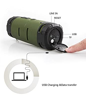 See Me Here BV350 Sport Outdoor Bluetooth Speaker Portable Speaker with 6W Strong Speaker Driver and Passive Bass Radiator Hook Included Green