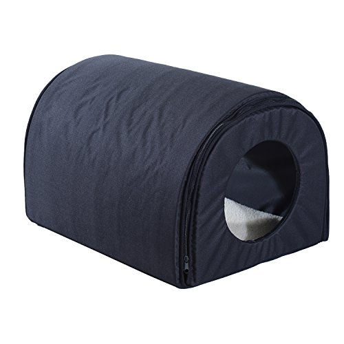 Pawhut Heated Outdoor Cat Shelter - Brown (Single, Black)