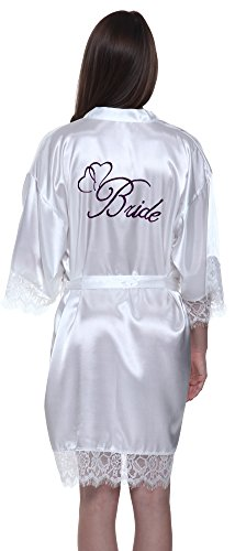 JOYTTON Women's White Satin Kimono Bridal Party Robe With Lace Trim Embroidery