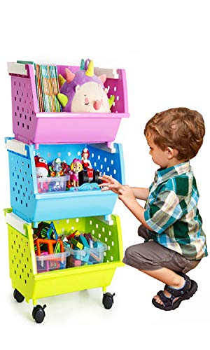 MAGDESIGNER Kids' Toys Storage Organizer with Wheels Can Move Everywhere Large Basket Natural/Primary (Primary Collection) (Purple&Blue&Green)