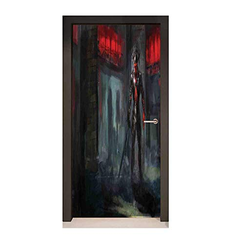 (Homesonne Fantasy World Decorative Door Sticker Fictional Reverent Character in Fire Temple Dark Gothic Demonic Devil Print for Office Decoration Grey Red,W17.1xH78.7)