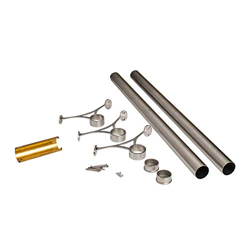 Outwater 6' Bar Foot Rail Kit - Complete Undercounter Mount Hardware and Tubing, Satin Stainless Steel Finish