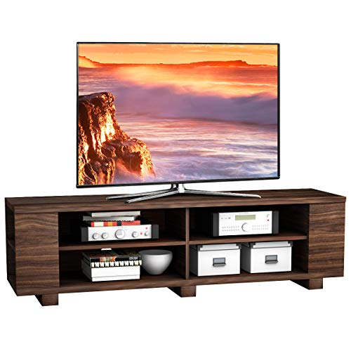 """Tangkula TV Stand, Modern Wood Storage Console Entertainment Center for TV up to 60"""", Home Living Room Furniture with 8 Open Storage Shelves (Coffee)"""