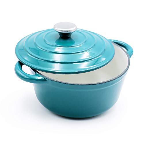 Enameled Cast Iron Dutch Oven - 5-Quart Turquoise Blue Round Ceramic Coated Cookware French Oven with Self Basting Lid by - Qt Cast Enameled Iron 5
