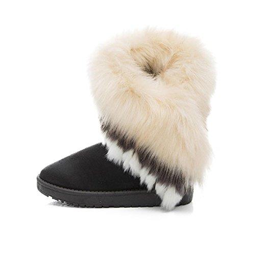 Oyedens Damen Modischen Winter Warmen Schnee Flachen KnöChel Pelz Schnee Stiefel Schuhe Schwarz