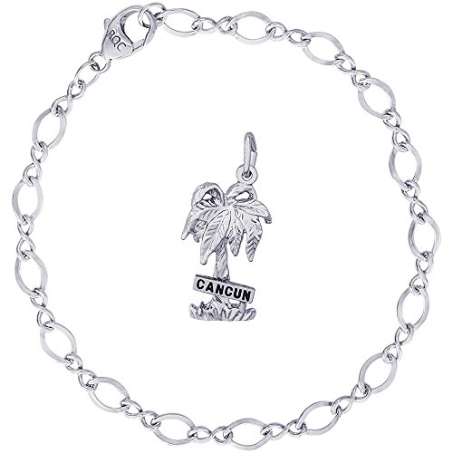 Rembrandt Charms Sterling Silver Cancun Palm Tree Charm on a Figure Eight Link Bracelet, 7
