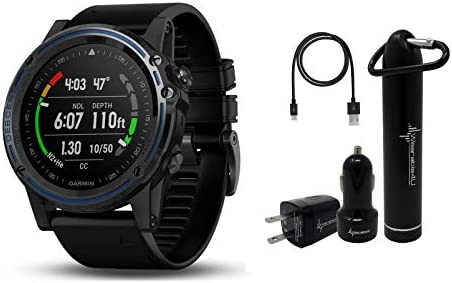 Garmin Descent MK1 Versatile Dive Computer with Surface GPS and Multisport Features and Wearable4U Ultimate Power Pack Bundle Gray Sapphire with Black Band