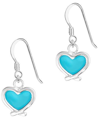 Hypoallergenic Sterling Silver Blue Crossover Heart Dangle Earrings for Kids (Nickel Free)