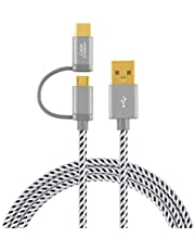 2 in 1 USB C Cable, CableCreation Braided Type C & Micro USB to USB A Fast Charge Cord