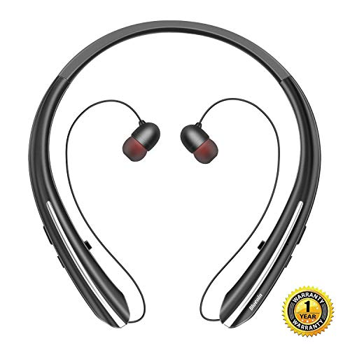 Bluenin BBH-919S Bluetooth Headphones Wireless Retractable Headset Neckband Stereo Earbuds in Ear Sweatproof Noise Cancelling Earphones with Mic (Black)