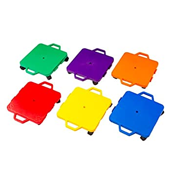 Image of Cosom Scooter Board Set, 16 Inch Children's Sit & Scoot Board With 2 Inch Non-Marring Nylon Casters & Safety Guards for Physical Education Class, Sliding Boards with Safety Handles, 6 Colors Components & Parts