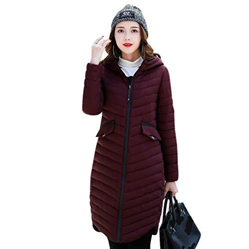 Anteriori Moda Coat Colori Cappuccio Costume Donna Manica Solidi Con Lunga Con Lunga Cappotti Piumini Tasche Invernali Di Cerniera Winered Giacca qxqATawX