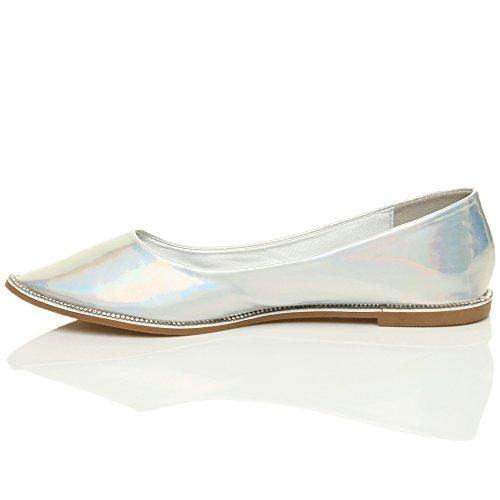 Damen Flach Spitz Strass Rand Gittergewebe Abend Ballerina Schuhe Pumps Größe Silber Schillernde Hologramm