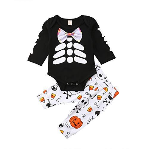 Infant Baby Boy Long Sleeve Romper Bone Print Round Neck T-Shirt Top +Pumpkin Pattern Pant 2PCS Outfits (12-18 Months, Black)
