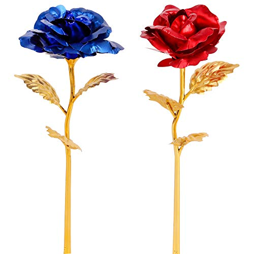 Red and Blue Leaf 24K Gilded Artificial Roses for Thanksgiving Day Mother's Day Valentine's Day Birthday Gift (Mixed) ()