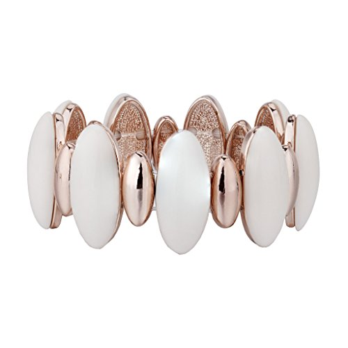 Janeo Stretch Cuff Wrist Bangle Bracelet,14KRose Gold and Ivory Resin Oval Shape Ornaments & Swarovski Crystals - Rose Gold/Ivory , Janeo Bangles & Bracelets