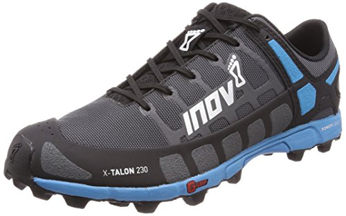 Inov-8 Mens X-Talon 230 - Lightweight OCR Trail Running Shoes - for Spartan, Obstacle Races and Mud Run - Grey/Blue 9 M - Claw Soft Studs