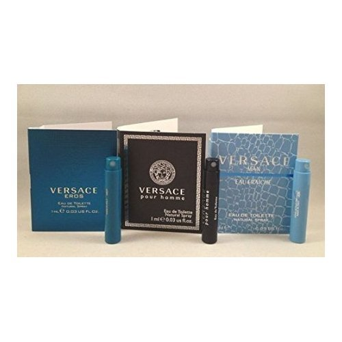 Lot of 3 Versace Eros, Pour Homme, Man Eau Fraiche EDT Vial Spray Sample .03 Oz Each TRY All